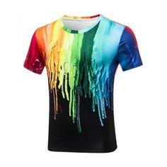 Crew Neck Paint Dripping T-Shirt