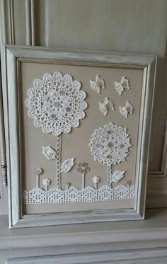 Items similar to old shabby style crochet doilies table on Ets . - Items similar to old shabby style crochet doilies table on Etsy - Framed Doilies, Lace Doilies, Crochet Doilies, Hand Crochet, Crochet Flowers, Crochet Style, Crochet Lace, Button Art, Button Crafts
