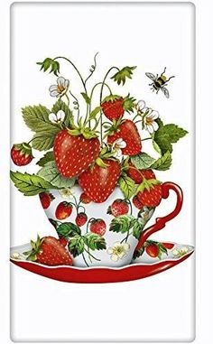 MU Kitchen Cotton Tea Towel Fruit Salad Floral Grapefruit Lemons Strawberries