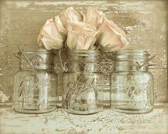 PEACH BLOSSOMS (sepia) Peach roses and mini mason jars...the perfect combination. Weathered romantic shabby chic still life wall art