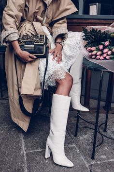 Gianvito Rossi Laura 85 Leather Knee Boots - knee high white boots with lace dress and trench coat