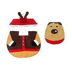 Hestio 3 in 1 Elk Deer Toilet Seat Cover Rug Christmas Bathroom Set >>> Visit the image link more details.