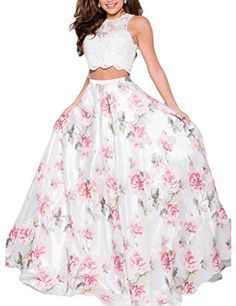 JoJoBridal Women's Lace 2 Piece Long Prom Homecoming Dres...