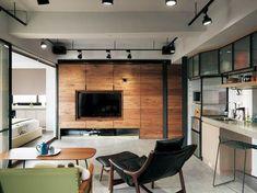 Living Room Modern, Living Room Interior, Living Rooms, Tv Feature Wall, Interior Architecture, Interior Design, Pipe Lighting, Loft Interiors, New Home Designs