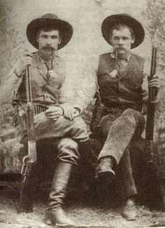 "Two of the 5 Marlow brothers, Charles on the left and George on right ... the saga of the Marlow Brothers is a complex and very involved story. It's so involved that several books have been written about the incident, which happened in and around Graham, Texas in 1888 to 1891. The movie ""The Sons of Katie Elder"" (starring John Wayne) was based on the events of this story.  10 innocent people died needlessly in this tragic story."