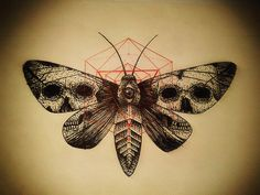 Scary black moth with skull prints on wings and red geometric drawing tattoo design Here we have best picture about moth tattoo designs. Kunst Tattoos, Skull Tattoos, Tattoo Drawings, Body Art Tattoos, Moth Tattoo Design, Tattoo Designs, Little Tattoos, Love Tattoos, Insect Tattoo