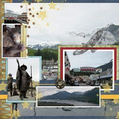 Disney Cruise Alaska Adventure #16: Ports-of-call - Ketchikan Scrapbook Page Layout Using Stamping