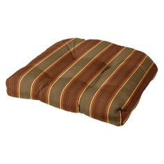 Cushion Source Sunbrella Striped 19 x 18 in. Rounded Back Chair Cushion Davidson Redwood - KHRCC-5606