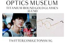 JIN #BTS (request) 150813 #JIN OPTICS MUSEUM titanium round gold glasses  @bts_twt  pic cr as tagpic.twitter.com/K1x2wsqBen Taehyung Gucci, Bts Clothing, Kpop Fashion, Bts Jimin, Bts Memes, Fasion, Everyday Fashion, Jin, Eyeglasses
