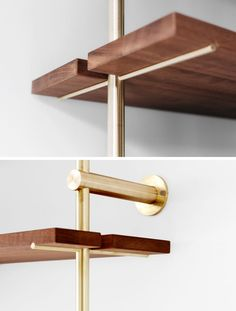 Using brass and Sapele wood, Toronto-based designer Ryan Taylor, has created Brass Rail Shelving, a fully customizable modern shelving system. Brass Shelving, Wall Shelves Design, Modern Shelving, Metal Shelves, Coffee Machine Design, Mid Century Shelves, Mid Century Modern Decor, Mid-century Modern, Danish Modern