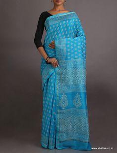 Rama Bounteous Blue Exclusive #BaghHandPrintSaree