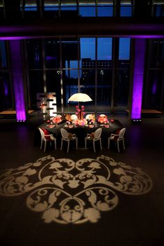 Lighting | gobo pattern dance floor purple uplighting | Wed Society