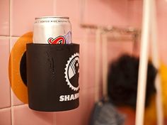 The shower koozie. the perfect solution to the pesky problem of finding a place for your shower beer