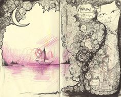 Ilustrar art sketchbook, art journal inspiration, art journal pages, ar Doodle Inspiration, Sketchbook Inspiration, Art Sketchbook, Book Art, Up Book, Art Journal Pages, Art Journals, Artist Journal, Altered Art