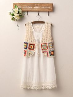 40 Trendy Ideas For Crochet Cardigan Boho Clothes Gilet Crochet, Crochet Jacket, Crochet Cardigan, Crochet Shawl, Knit Crochet, Tapestry Crochet, Crochet Tops, Crochet Squares, Crochet Granny