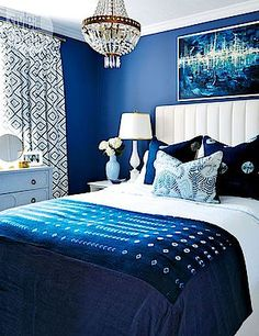 This royal blue bedroom is fit for any glam girl.: Benjamin moore dark royal blue