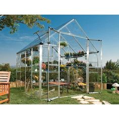Give your plants a new home with this unique greenhouse. This fixture lets in of light and keeps out of harmful UV rays. With polycarbonate clear panels, this greenhouse allows Greenhouse Frame, Greenhouse Interiors, Backyard Greenhouse, Small Greenhouse, Greenhouse Plans, Yard Care, Aquaponics System, Indoor Aquaponics, Hydroponics