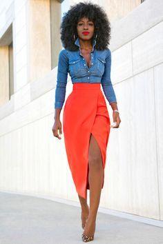 Fitted Denim Shirt + Tulip Front Slit Skirt
