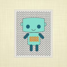 Teal robot w/ chevron background- Kids art, Nursery art, Playroom art, Childrens Art. $14.00, via Etsy.