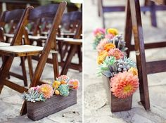 wedding aisle decoration with succulents and flowers