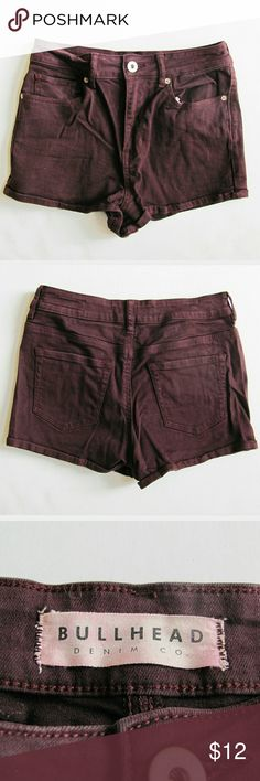 "Bullhead High Rise Shorts Maroon Red Size 7 Super cute, super short denim from Bullhead. Maroon red ""Super High Rise Shorty"" shorts are great for summer. Five pocket style, upturned hem on legs. Richly dyed. Great Pre-owned condition, no flaws or damage. Women's/Juniors size 7. Actual measurements (flat across): 14"" waist, 15.5"" hip, 2"" inseam, 10"" -12"" total length. Reasonable offers appreciated! Bullhead Shorts"