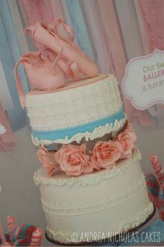 Andrea Nicholas Cakes: A sweet ballerina-themed birthday cake; sugar ballet slipper topper.
