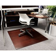 Dark Cherry 48 x 52 Bamboo Roll-Up Office Chair Mat - 1/4 Inch Thick - AMB24013