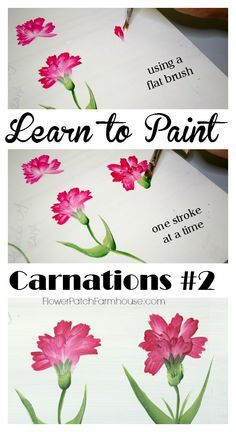 Learn how to Paint Carnations 2, Paint carnations one stroke at a time, using a flat brush. Easy and fun, FlowerPatchFarmhouse.com