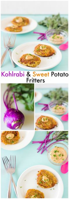 Sweet Potato and Kohlrabi Fritters with Yogurt-Tahini Sauce is a farmer's market's dream recipe! The delicious unique flavour of kohlrabi shines through and the yogurt-tahini sauce adds a delicious salt smoky flavour! #vegetarian #healthy