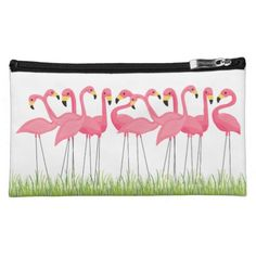 Cuban Pink Flamingos Cosmetic Bag @zazzle #junkydotcom Aug 4 2016