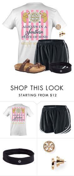 """""""Going to go help me classmates decorate the high school for homecoming week:)"""" by flroasburn ❤ liked on Polyvore featuring NIKE, lululemon, Tory Burch and Birkenstock"""