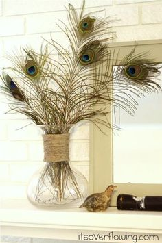 Dress up a vase by placing a dot of hot glue at the top and attaching jute string to the glue and then loop the jute around the vase. Glue only one row at a time as the glue dries quickly. Peacock Bathroom, Peacock Room, Peacock Decor, Peacock Colors, Peacock Theme, Feather Decorations, Peacock Feathers, Pheasant Feathers, My New Room