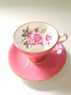 English Fine Bone China Aynsley Corset Shape Tea Cup and Saucer Dusty Rose Spray Tea Party - c. 1950s