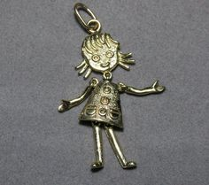 Perfect gift for your mom or new mom 14k Charm Pendant Movable Girl 51g 3D Movable EverythingIOwn