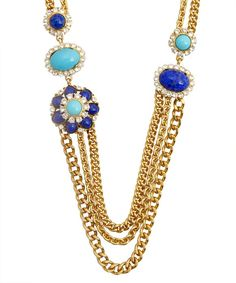 Ben-Amun : turquoise, lapis and crystal long layer necklce : style # 332889101