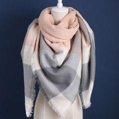 ZALA Winter luxury Brand Plaid Cashmere Scarf Women Oversized Blanket Scarf Wrap long Wool Scarf Women Pashmina Shawls Scarves