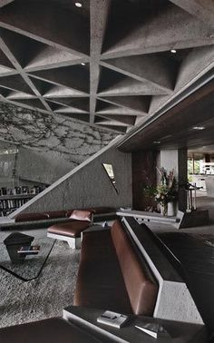 ♂ Modern interior living room space design with heavy masculine feels - The architectural work of John Lautner became immortalized in popular culture with the 1971 James Bond film, Diamonds are Forever.