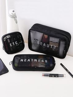 Women Travel Cosmetic Bag Casual Zipper Make Up Transparent Makeup Case Organizer Storage Pouch Toiletry Beauty Wash Kit Bags Small Cosmetic Bags, Cosmetic Storage, Travel Cosmetic Bags, Cosmetic Case, Bag Storage, Makeup Storage Bag, Travel Kits, Makeup Case, Wash Bags