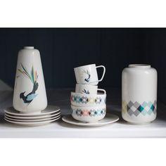 Gullfuglen (The Golden Bird) porcelain collection, multicoloured. Cup, plate, bowl and vase. Porcelain, Vase, Plates, Bird, Mugs, Tableware, Pattern, Google, Collection