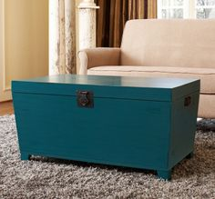 Turquoise Pyramid Trunk Coffee Table - This eye-catching trunk offers scads of storage and makes a great coffee table or bedroom bench. Cute Furniture, Decor, Chest Coffee Table, Sofa End Tables, Coffee Table Trunk, Loft Furniture, Asian Home Decor, Coffee Table, Home Decor