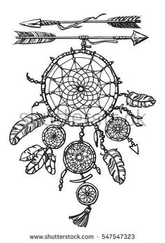 Native american indian dream catcher. Two arrows, feathers and beads. Design for tattoo, T-shirt or coloring book for adults. Hand drawn sketch vector illustration in boho style isolated on white.