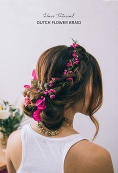 DIY Floral Dutch Braid