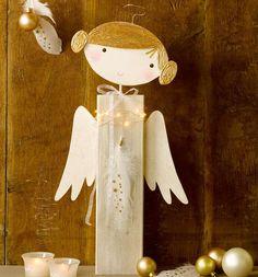 Christmas messenger made of wood (kreativ. Christmas Favors, Christmas Angels, Christmas Art, Christmas Projects, Handmade Christmas, Angel Crafts, Wood Crafts, Diy And Crafts, Christmas Crafts