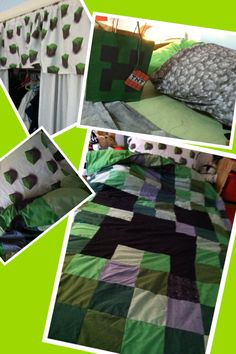 Mincraft quilt, pillow case, valance