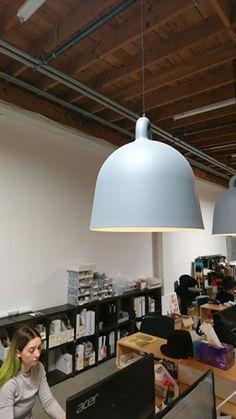 Normann Copenhagen Bell Lights in Grey. Pantone color - Cool Gray 10 U (similar / same RGB values as BM colors 2133-40, 2134-40, 2121-20, 2119-40).  Kitchen island will have two medium pendants - 16.5 dia x 17.3 h