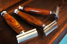 3 Double Edge Safety Razors handmade by Imperium. Shave like your Grandfather. https://www.etsy.com/listing/213010420/gift-set-of-3-hardwood-double-edge?ref=shop_home_feat_2