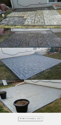 Small patio created using Quikrete walkmaker. Used 80lbs bags of crack-resistant concrete to fill the mold, sprayed acrylic curing agent on the surface and let dry for 2 days.  Then painted it a blue-gray color and filled the gaps with jointing sand.  I absolutely love how this came out. - created via https://pinthemall.net