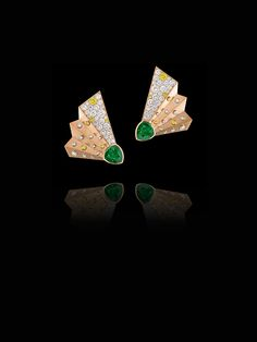 """""""EVENTAILS"""" EARRINGS Earrings featuring 2 troidia-cut emeralds weighing 2,96 carats,Fancy Yellow brilliants weighing 0,46 carat and brilliants weighing 2,78 carats. Set on pink gold."""