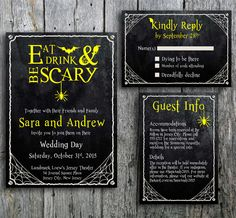 Halloween Wedding Invitation Set with Spider Web by LangDesignShop
