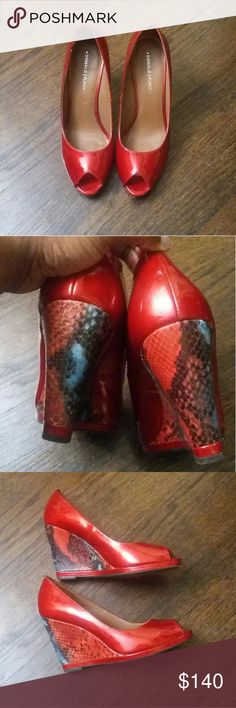 Donald J Pliner Wedges Brand new fire engine red patent leather Donald J Pliner wedges. These shoes are super cute and classy. They have blue and red snakeskin print on the heels. This particular shoe is being sold $99 online at other places. Donald J. Pliner Shoes Wedges